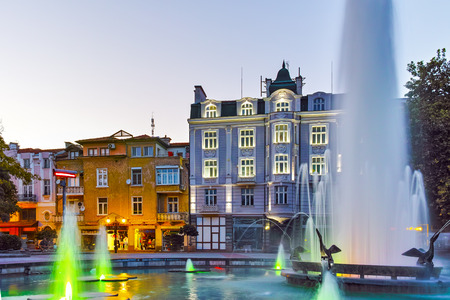 europe travel: Night photos of Fountain in front of city hall in the center of Plovdiv, Bulgaria