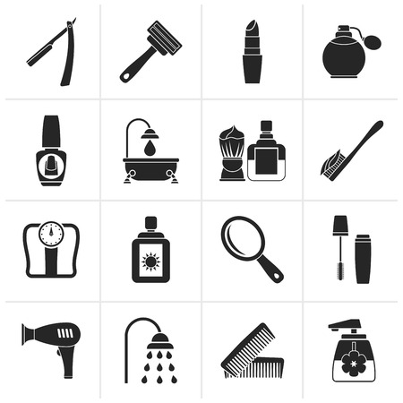 body care: Black body care and cosmetics icons - vector icon set Illustration