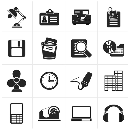clop: Black Office and business icons - vector icon set Illustration