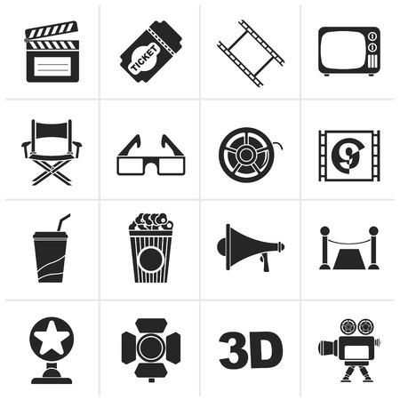 lighting button: Black Cinema and Movie icons- vector icon set Illustration