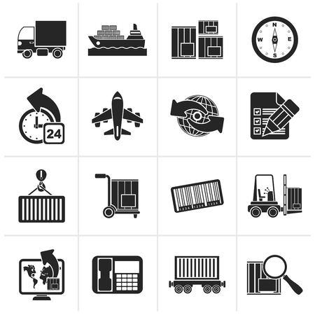 delivering: Black shipping and logistics icons - vector icon set Illustration