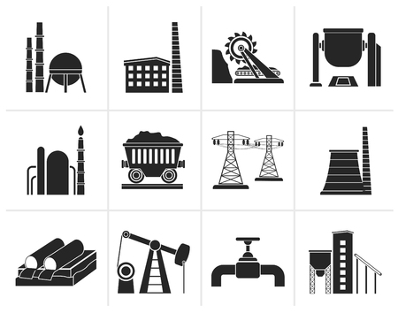 mine site: Black Heavy industry icons - vector icon set