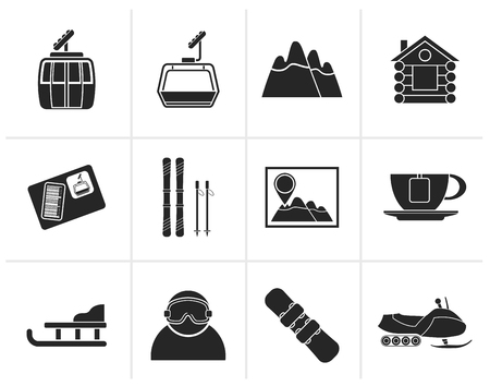 ski pass: Black Ski Track and sport icons - vector icon set