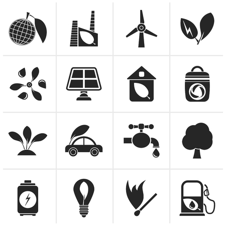 objects: Black Green, Environment and ecology Icons - vector icon set Illustration