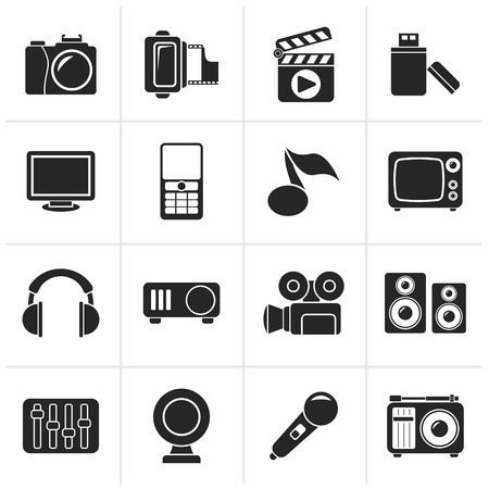 video camera icon: Black multimedia and technology icons - vector icon set
