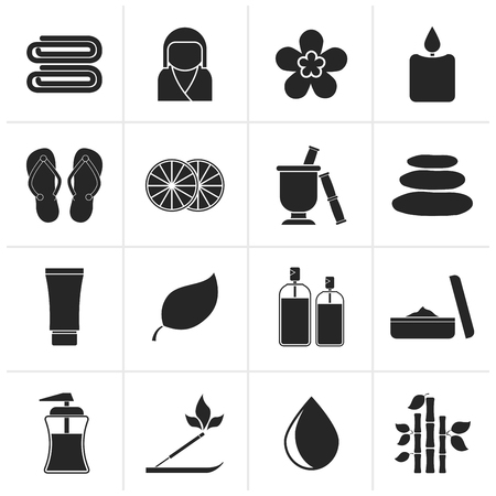 spa objects: Black Spa objects icons - vector icon set Illustration