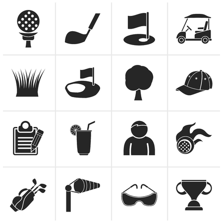 golf club: Black golf and sport icons - vector icon set