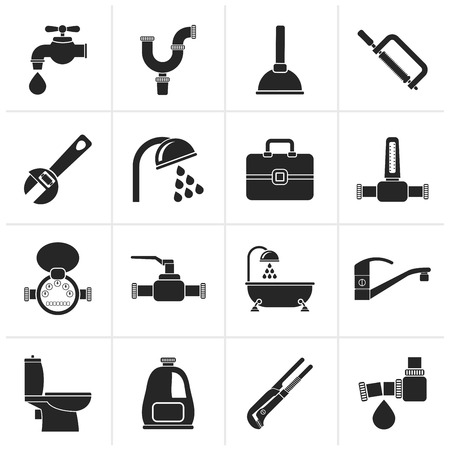 Black plumbing objects and tools icons - vector icon set
