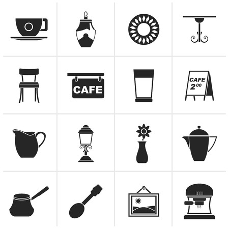 schwarz: Black Cafe and coffeehouse icons - vector icon set