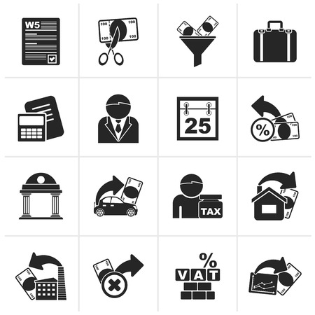 exemptions: Black Taxes, business and finance icons - vector icon set