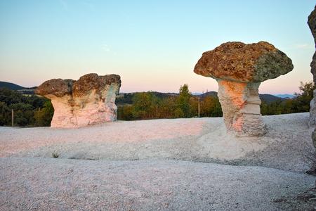 prodigy: Sunrise at a rock phenomenon The Stone Mushrooms near Beli plast village, Kardzhali Region, Bulgaria
