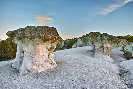 Prodigy: Sunrise at a rock phenomenon The Stone Mushrooms near Beli plast village, Kardzhali Region, Bulgaria