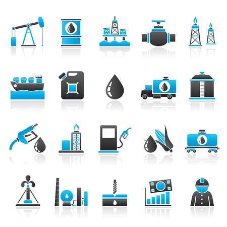 oil and gas: Oil industry, Gas production, transportation and storage icons - vector icon set Illustration