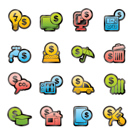 car bills: payment of  bills icons - vector icon set Illustration