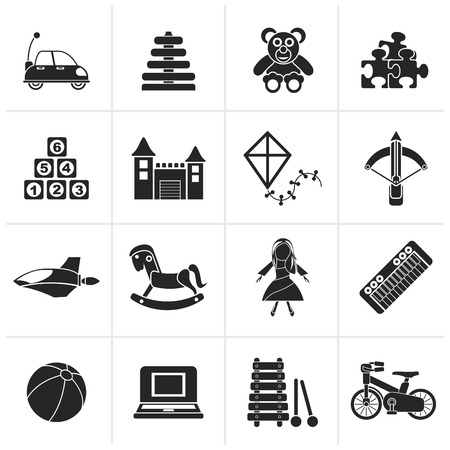 arbalest: Black different kind of toys icons - vector icon set