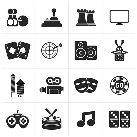 entertainment: Black entertainment objects icons - vector icon set