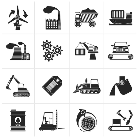 heavy industry: Black different kind of business and industry icons - vector icon set