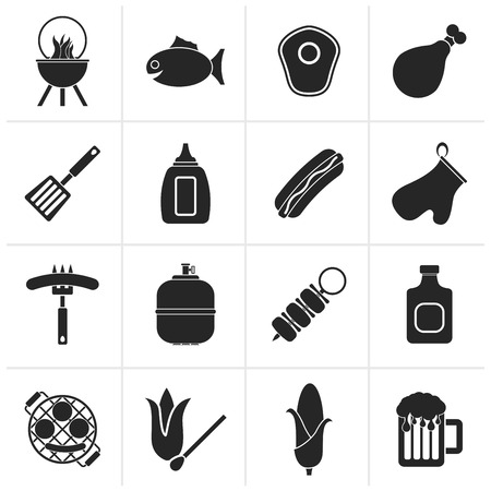 gas barbecue: Black Grilling and barbecue icons - vector icon set
