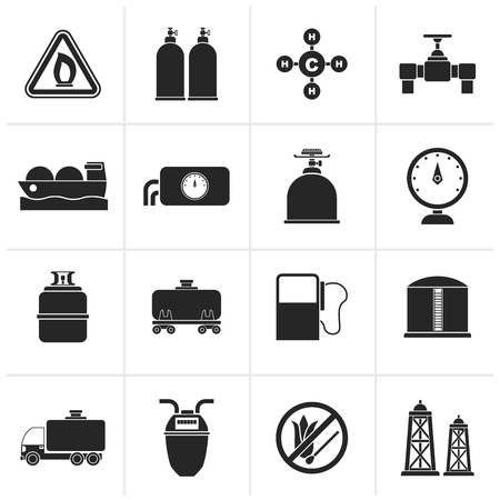 natural gas production: Black Natural gas objects and icons - vector icon set