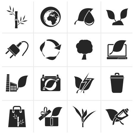 green eco: Black Environment and Conservation icons - vector icon set