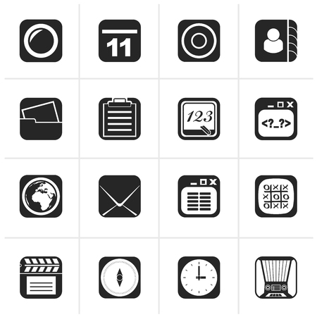 mobile communication: Black Mobile Phone and communication icons - vector icon set