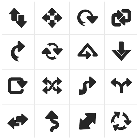 reversing: Black different kind of arrows icons - vector icon set