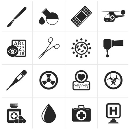 bacteria in heart: Black Medicine and hospital equipment icons - vector icon set