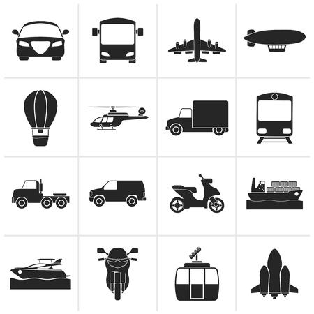 Negro de transporte y viajes - conjunto de iconos conjunto de vectores