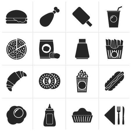 drink food: Black fast food and drink icons - vector icon set