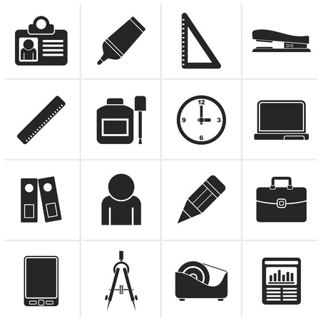 corrector: Black Business and office objects icons - vector icon set Illustration