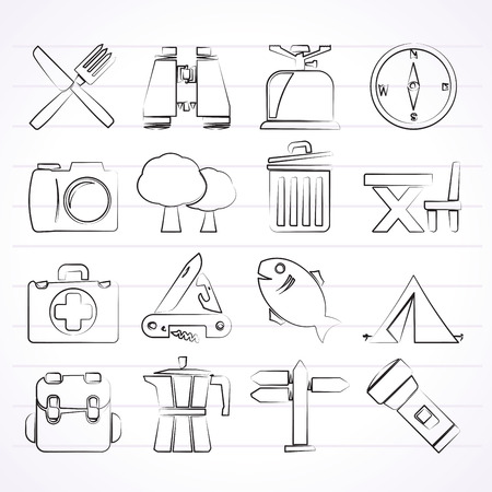 backpack: Camping, tourism and travel icons - vector icon set