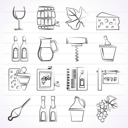 wine grapes: Wine industry objects icons -vector icon set