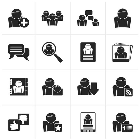media equipment: Black Social Media and Network icons - vector icon set