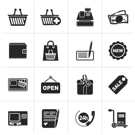 retail: Black shopping and retail icons - vector icon set Illustration