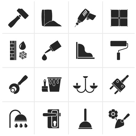 Black Construction and building equipment Icons - vector icon set 1