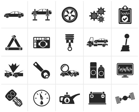 Black car services and transportation icons - vector icon set Stock Illustratie