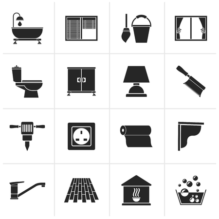 building construction: Black Construction and building equipment Icons - vector icon set 2 Illustration