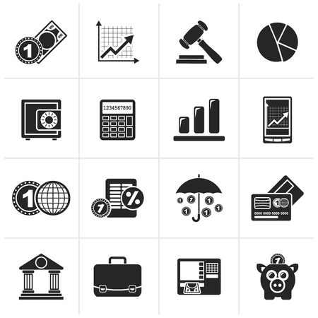 interests: Black Business and finance icons - vector icon set