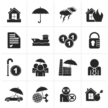 risk: Black Insurance and risk icons - vector icon set