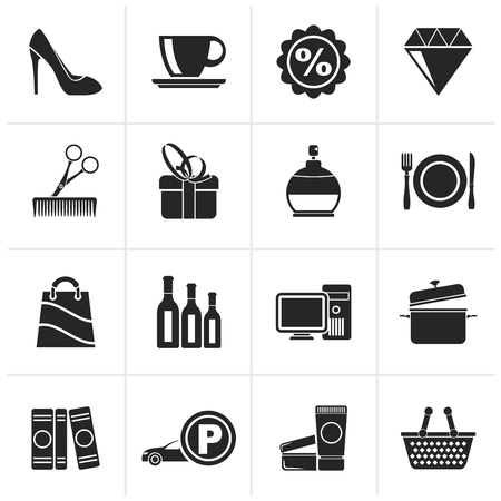 Black Shopping and mall icons - vector icon set Illustration