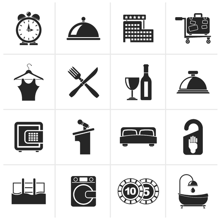 knife fork: Black Hotel and motel icons - Vector icon Set Illustration