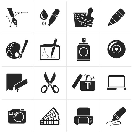 brush paint: Black Graphic and web design icons - vector icon set