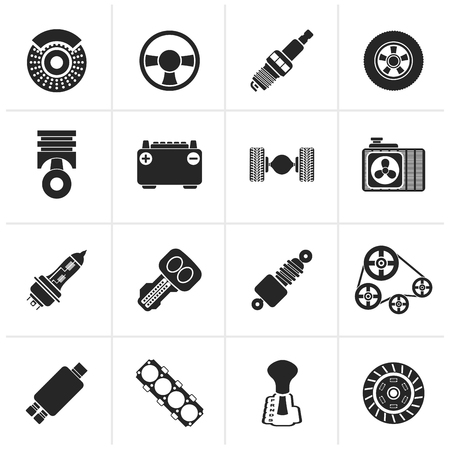differential: Black Different kind of car parts icons - vector icon set Illustration