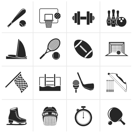 objects: Black Sport objects icons - vector icon set Illustration