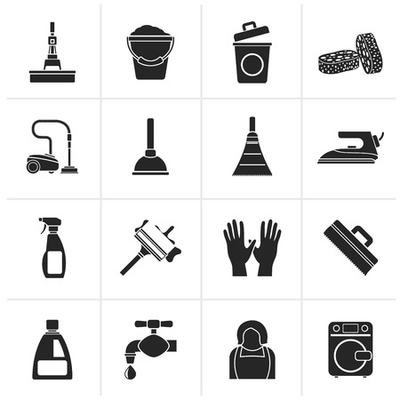mop floor: Black Cleaning and hygiene icons - vector icon set