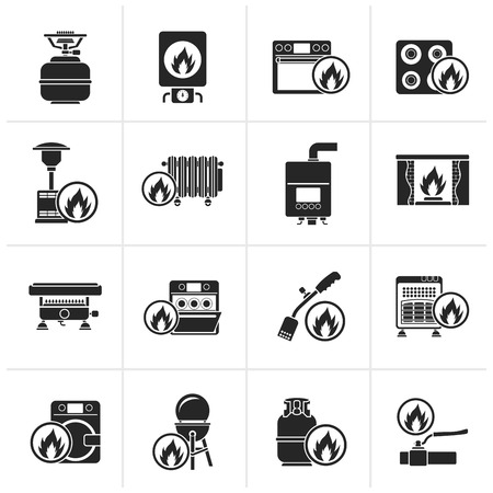 gas fireplace: Black Household Gas Appliances icons - vector icon set