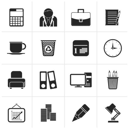 icono computadora: Negro iconos de negocio y Oficina - Vector Icon Set