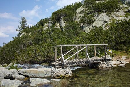wooden bridge: wooden bridge over river in Pirin Mountain, Bulgaria Stock Photo