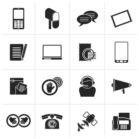 letterbox: Black Contact and communication icons - vector icon set Illustration
