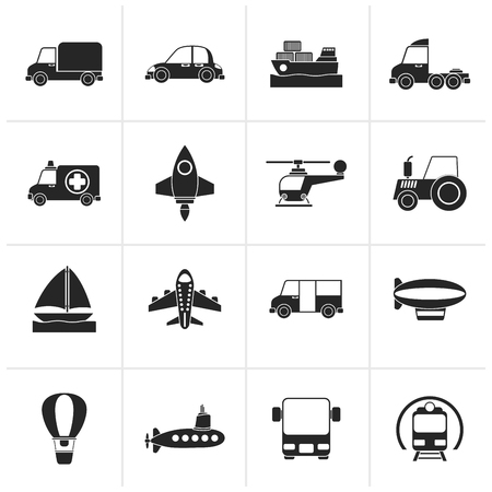 agrimotor: Black Different kind of transportation icons - vector icon set Illustration